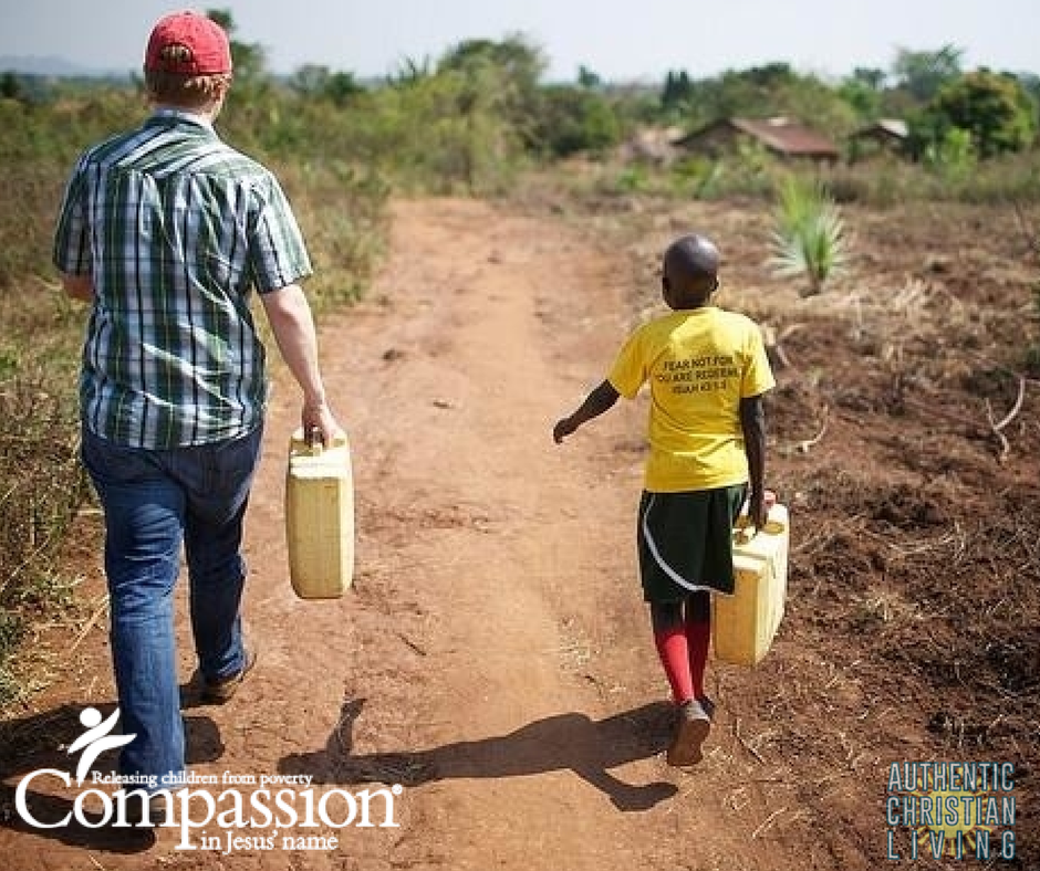Compassion international with a Uganda child, collecting water